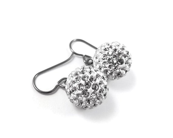 Crystal rhinestones ball dangle earrings - Hypoallergenic pure titanium and stainless steel