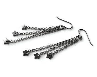 Star silver chain dangle earrings - Hypoallergenic pure titanium and stainless steel
