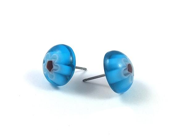 Aqua and red millefiori stud earrings - Titanium and glass