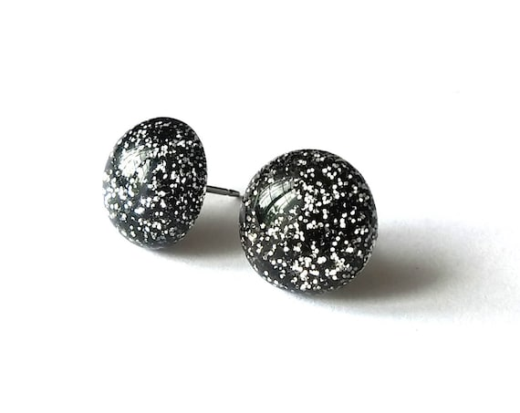 12mm Black and silver glitter stud earrings - Hypoallergenic pure titanium and resin
