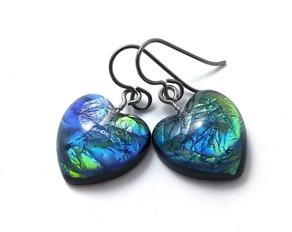 Blue heart drop dangle earrings - Hypoallergenic pure titanium and resin earrings