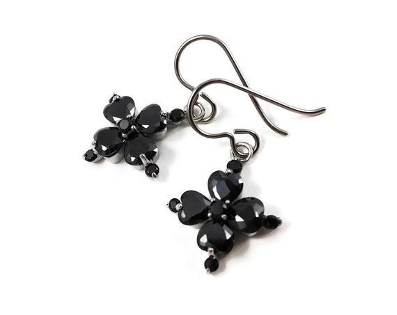 Black crystal flower dangle earrings - Pure titanium, stainless steel and cubic zirconia