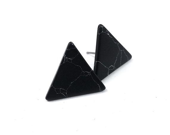 Black turquoise triangle stud earrings - Pure titanium and gemstone