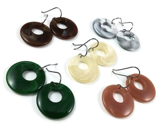 Hoops dangle earrings, 5 colors available - Hypoallergenic pure titanium and resin earrings