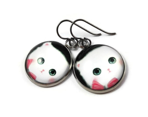 Kitty dangle earrings - Hypoallergenic pure titanium, stainless steel and glass jewelry
