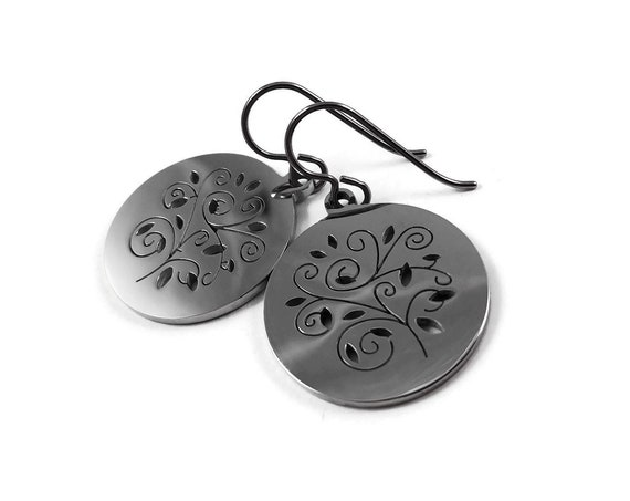 Silver hollow tree dangle earrings - Hypoallergenic pure titanium and stainless steel