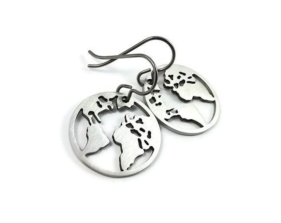 Silver world map dangle earrings - Hypoallergenic pure titanium and stainless steel