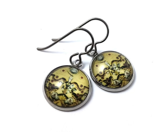 Steampunk #4 dangle earrings - Hypoallergenic pure titanium, stainless steel and glass jewelry