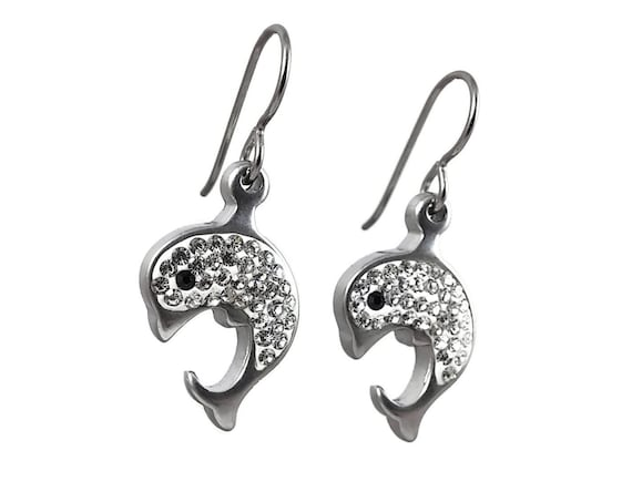 Crystal rhinestones dolphin dangle earrings - Hypoallergenic pure titanium and stainless steel