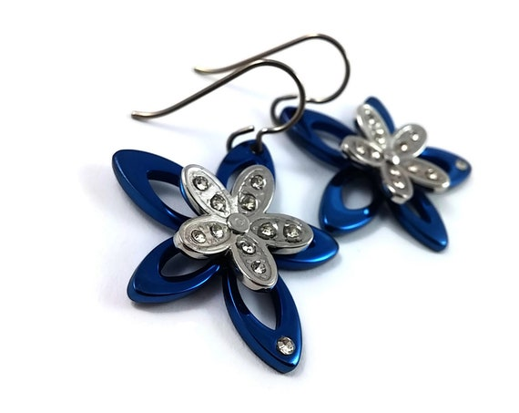 Blue and silver rhinestone flower dangle earrings - Hypoallergenic pure titanium and stainless steel
