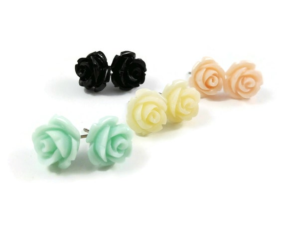 Rose flower stud earrings - Hypoallergenic pure titanium and resin