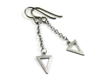 Triangle silver chain dangle earrings - Hypoallergenic pure titanium and stainless steel