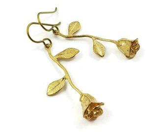 Gold rose flower dangle niobium earrings - Hypoallergenic nickel free, lead free and cadmium free