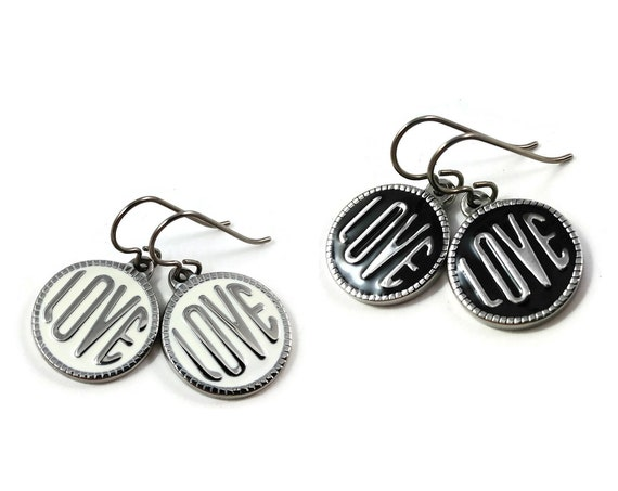 Black or white enamel and silver love dangle earrings - Hypoallergenic pure titanium and stainless steel