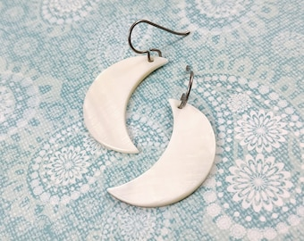 White moon dangle earrings, Titanium and natural mop shell jewelry, Moon phase earrings, Crescent moon statement earrings