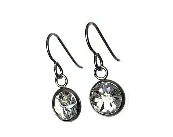 Clear faceted dangle earrings - Hypoallergenic pure titanium, stainless steel and resin jewelry