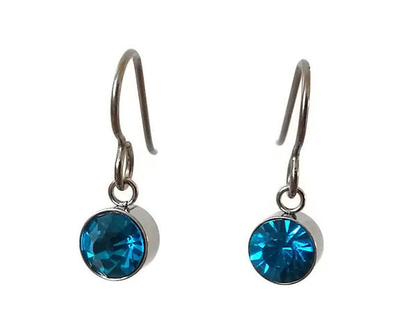Blue zircon dangle earrings - Pure titanium, stainless steel and zircon