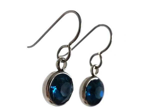 Blue rhinestone faceted dangle earrings - Pure titanium, stainless steel and rhinestone