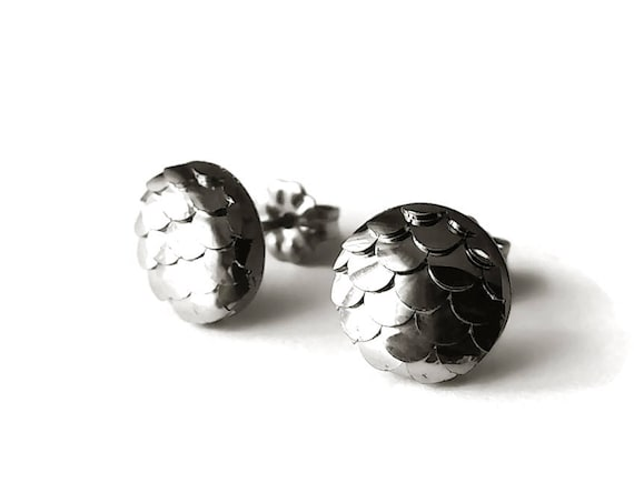 10mm charcoal mermaid stud earrings - Hypoallergenic pure titanium and resin