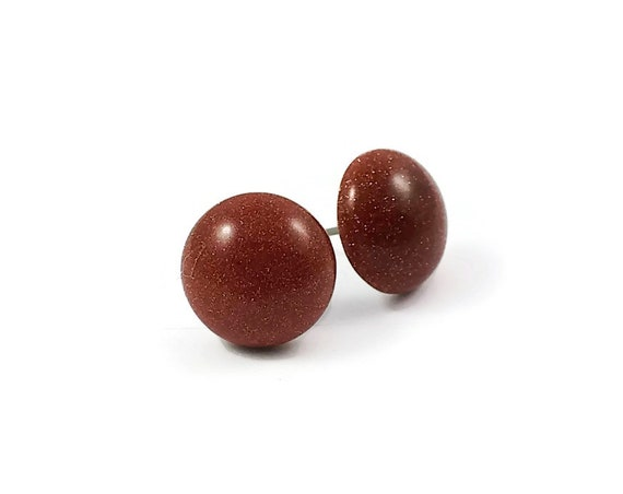 Goldstone stud earrings - Titanium and gemstone