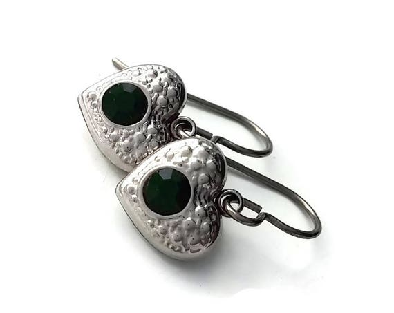 Emerald green rhinestone heart dangle earrings - Hypoallergenic pure titanium and stainless steel