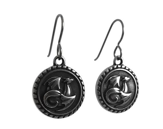 Silver dragon dangle earrings - Hypoallergenic pure titanium and stainless steel