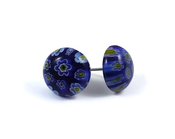 Blue millefiori stud earrings - Titanium and glass