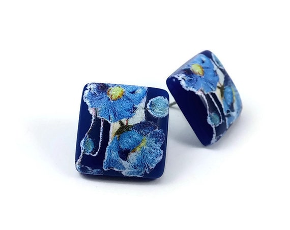 Japanese blue tensha square stud earrings - Hypoallergenic pure titanium and resin