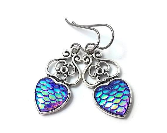 Heart of mermaid dangle earrings - Purple dreams - Hypoallergenic pure titanium, stainless steel and resin