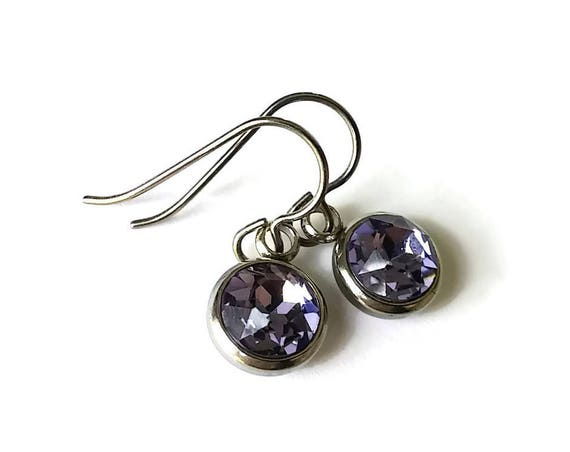 Purple rhinestone faceted dangle earrings - Pure titanium, stainless steel and rhinestone