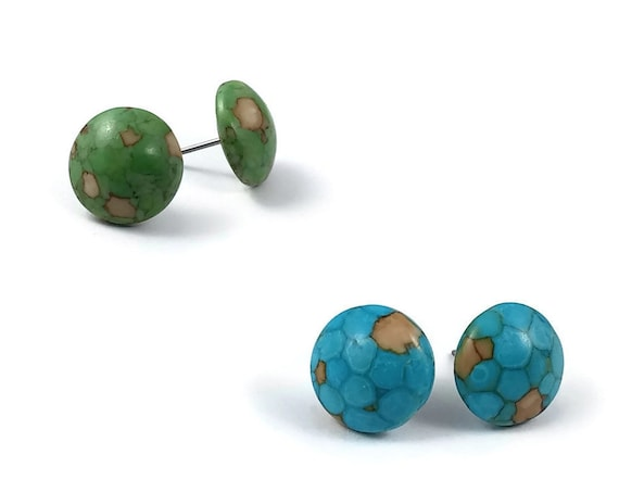 Mosaic turquoise gemstone stud earrings - Titanium and gemstone - Blue or Green