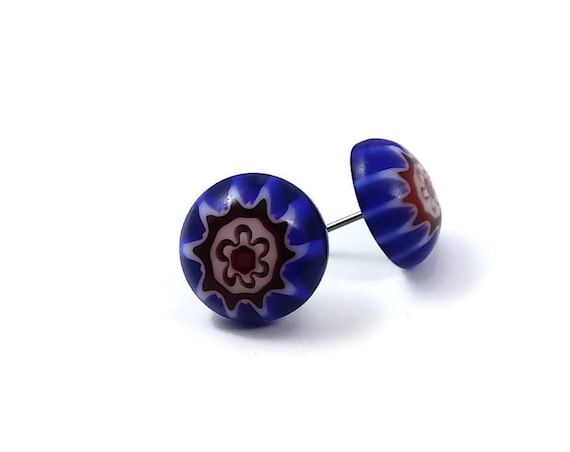 Blue and red millefiori stud earrings - Titanium and glass