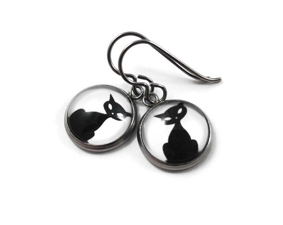 Black cat dangle earrings - Hypoallergenic pure titanium, stainless steel and glass jewelry