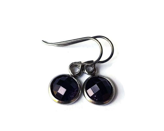 Purple glitter faceted dangle earrings - Hypoallergenic pure titanium, stainless steel and resin jewelry
