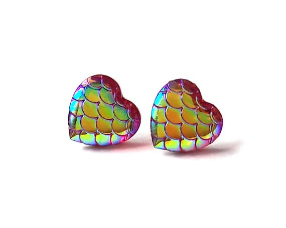 Heart of mermaid stud earrings - Pink dreams - Hypoallergenic pure titanium and resin