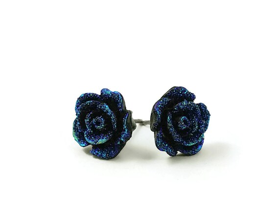 Deep blue druzy flower stud earrings - Hypoallergenic pure titanium and resin
