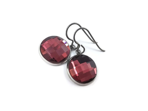 Red rhinestone faceted dangle earrings - Pure titanium, stainless steel and glass