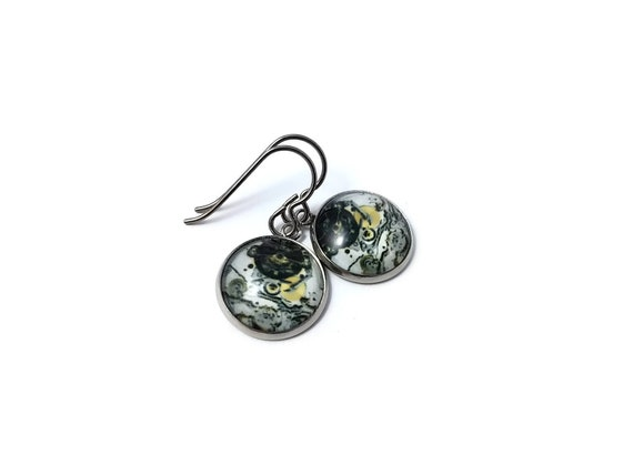 Steampunk #2 dangle earrings - Hypoallergenic pure titanium, stainless steel and glass jewelry