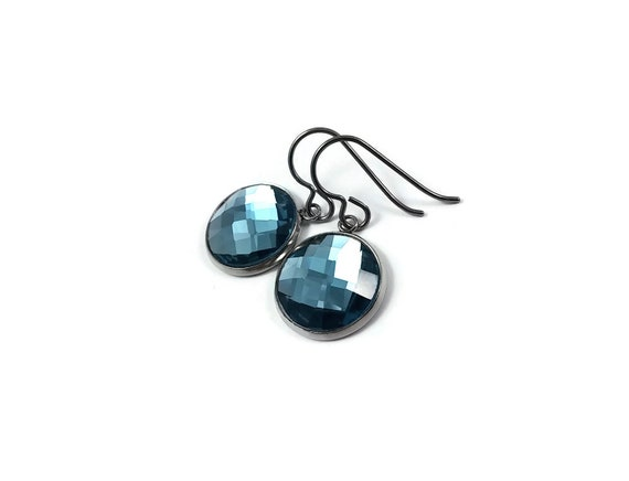Teal blue rhinestone faceted dangle earrings - Pure titanium, stainless steel and glass