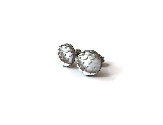 10mm silver mermaid stud earrings - Hypoallergenic pure titanium and resin
