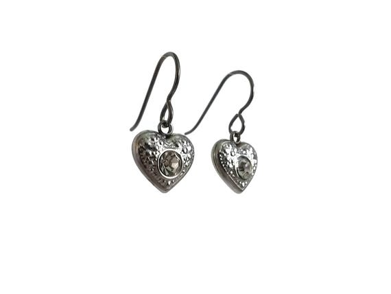 White rhinestone heart dangle earrings - Hypoallergenic pure titanium and stainless steel