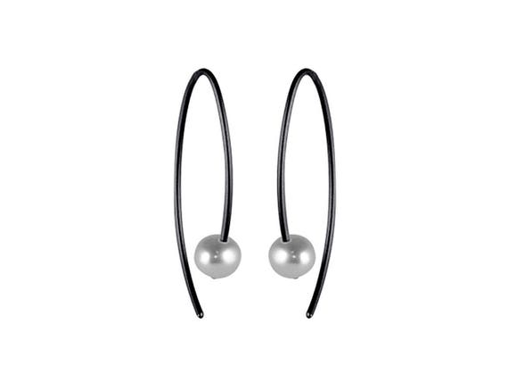 Small Stem Pearl Black Titanium Earrings, 100% Hypoallergenic, Sensitive ear