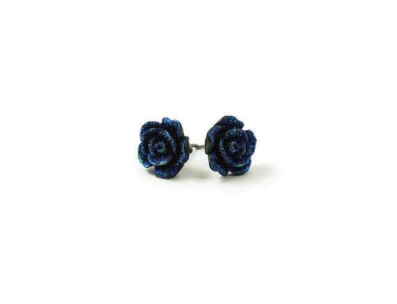 Deep blue druzy flower stud earrings - Hypoallergenic pure titanium and resin