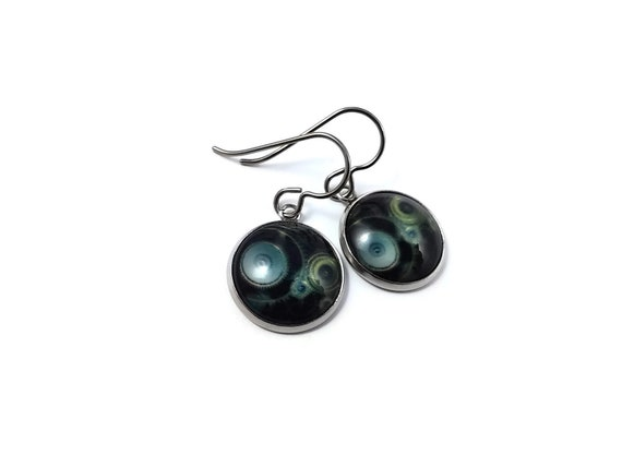 Steampunk #5 dangle earrings - Hypoallergenic pure titanium, stainless steel and glass jewelry