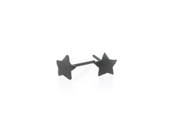 Black Star Titanium Stud Earrings, 100% Hypoallergenic, Sensitive ear