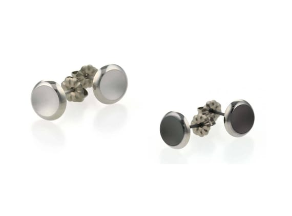 Small Polished Edge Titanium Stud Earrings, 100% Hypoallergenic, Sensitive ear