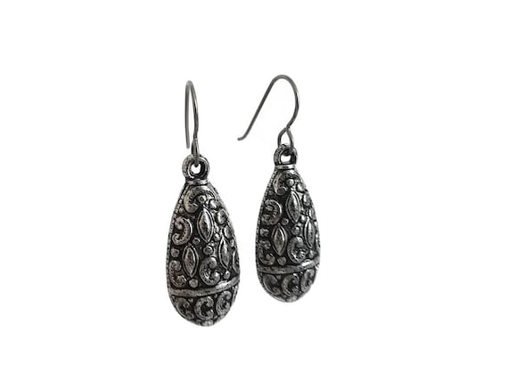 Art nouveau silver drop dangle earrings - Hypoallergenic pure titanium and acrylic