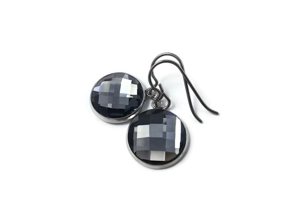 Grey rhinestone faceted dangle earrings - Pure titanium, stainless steel and glass