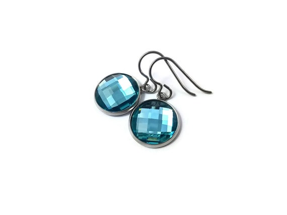 Aqua blue rhinestone faceted dangle earrings - Pure titanium, stainless steel and glass