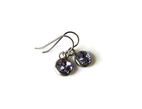 Purple rhinestone faceted dangle earrings - Pure titanium, stainless steel and rhinestone